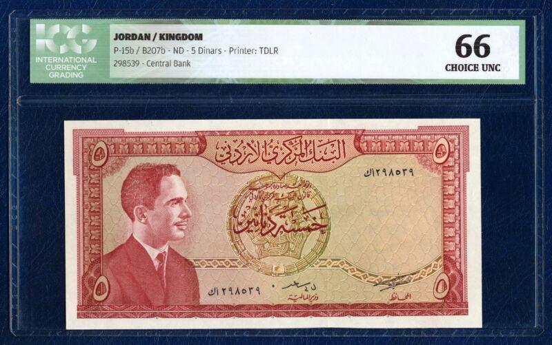 JORDAN 5 DINARS PICK 15b PETRA 1959 ICG 66 CHOICE UNC