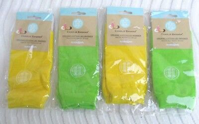 4 PR..ORGANIC COTTON..CHARLIE BANANA..BRIGHT GREEN YELLOW..BABY..LEG WARMERS.NEW