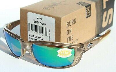 COSTA DEL MAR Zane 580 POLARIZED Sunglasses Crystal Bronze/Green Mirror 580P (Costa Del Mar Zane Sunglasses)