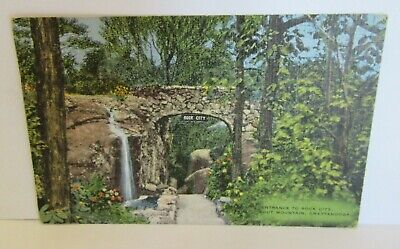 Vintage Linen Postcard Entrance To Rock City Lookout Mountain Chattanooga - 222