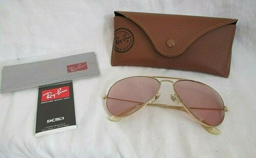 "VINTAGE Gold Rim B&L RAY BAN USA 58-14 L0205 Vuas ""AVIATOR"" RX Sunglasses + Case"