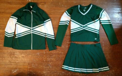 Real 4 Piece Plus Size Chasse Adult XL Cheerleading Uniform Cheer Green White
