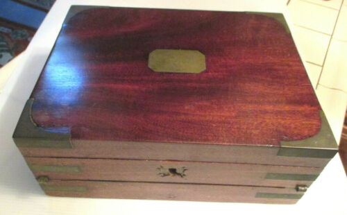 """ANTQUE 12"""" George III  WOOD & Brass BOUND CAMPAIGN CAPTAIN BOX  Writing Slope"""