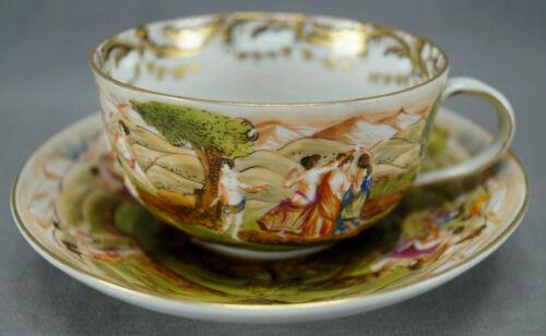 Late 19th Century Capodimonte Style Figural Roman Ruins & Gilt Tea Cup & Saucer