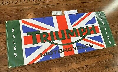 TRIUMPH MOTORCYCLE Garage Banner Sign (Large 2'x5')
