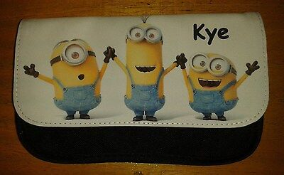 Personalised Minions Black Pencil Case -Include Name Great For School Boys/Girls - Minions Character Names