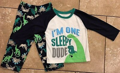 """""""NEW"""" CARTER'S """"Just One You"""" Pajamas 2-Piece Set With DINOSAURS, Boy's Sz. 2T."""