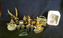 vintage modern brass bronz still miniature figurines clock iron assorted mix lot