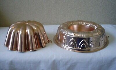 2 vintage copper jello molds 3 1/2 cup fluted, 3 1/2 cup round
