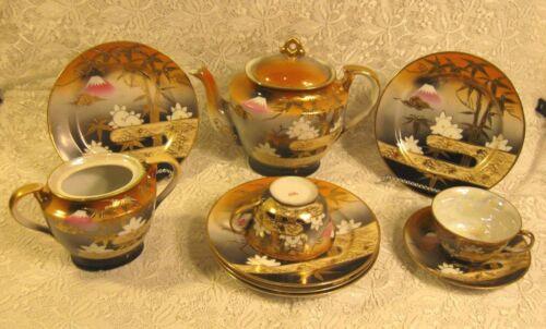 Japan Vintage 10 Pc Mt. Fuji > Gold Leave Tea Set