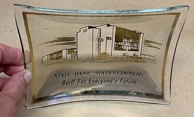 2 1970's VTG Glass ASH TRAYS Advertising STATE Bank HALES CORNERS Wi Givaway NOS