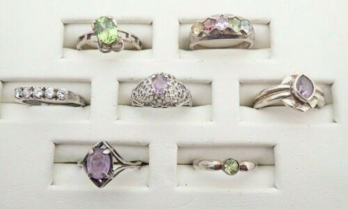 Vintage Lot of 7 Sterling Silver Gemstones CZ
