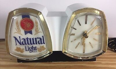 NATURAL LIGHT Beer Light Up Advertisement Sign Clock Cash Register Bracket Works