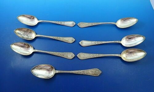 7 Vintage Russian 84 Silver Place Soup Spoons with Bow Design (#4032)
