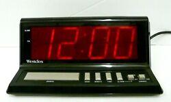 Westclox large red digital display model 22704 alarm clock 3-1/4 tall AC power