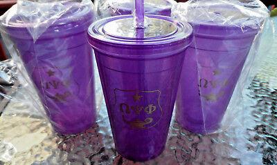 Omega Psi Phi 16oz: 4 PACK:Double Wall Plastic Tumbler w/ Straw: Purple & Gold: (4 Pack 16 Oz Tumblers)
