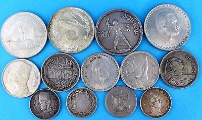 13x Ägypten Silber Münzen LOT Piastres Nasser König Faruk I. FAROUK Qirsh 197 gr