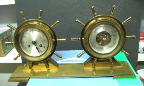 SALELM SHIPS BELLS BRASS CLOCK AND BAROMETER
