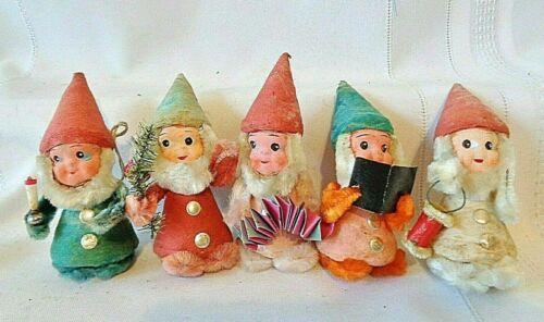 5 Vintage Antique Gnome Elf Spun Cotton Body Hat Paper Mache Face Chenille Japan