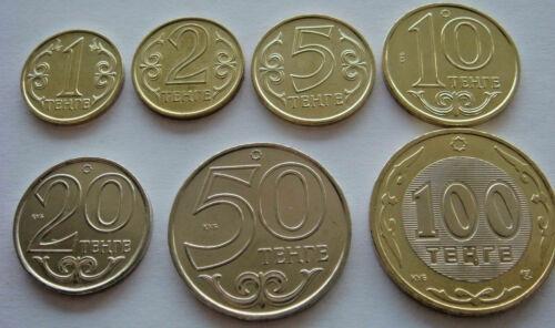 KAZAKHSTAN 7-PC CURRENT UNCIRC. COIN SET, 1 - 100 TENGE