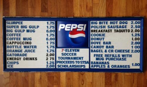 7-Eleven Soccer Classic Menu Board Slurpee 711 Big Bite Pepsi STSA Saginaw Mich