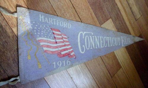 "Vintage 1916 HARTFORD CONNECTICUT FAIR Felt Banner  11"" X 29""  CT Patriotic Flag"
