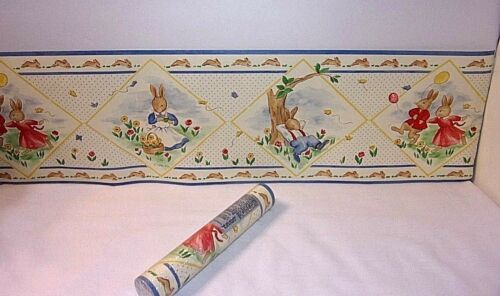 "Bunnykins Royal Doulton Bunny Wall Border Wallpaper 6.25"" NEW Prepasted 15 ft"