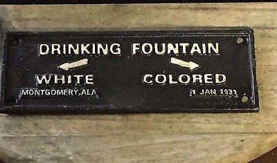 "Cast Iron Black Americana ""Drinking Fountain White Colored"" Plaque Wall Sign"