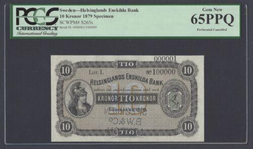 Sweden Helsinglands Enskilda Bank 10 kronor 1879 PS265s Litt L Specimen UNC