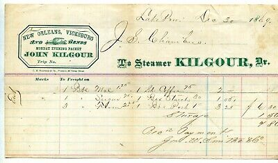 """STEAMBOAT FREIGHT BILL """"Kilgour"""" 1869"""