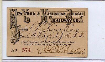 New York and manhattan beach railway co pass 1879