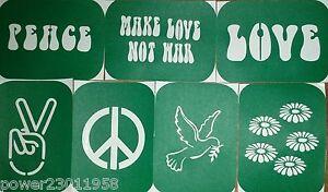 Pack of 7 PEACE-1 HIPPY Vinyl Tattoo Body Art Stencils Glitter-Airbrush BRUSH