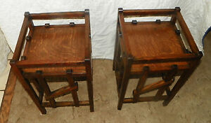 Pair-of-Quartersawn-Oak-Mission-Plant-Stands-Tables-PS6