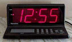 Westclox LARGE Red digital display model 22704 alarm clock 3-1/4 tall x 8 AC