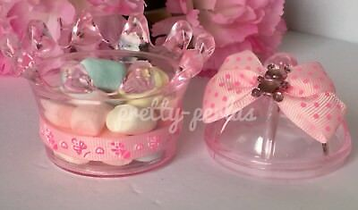 12-Baby Shower Favors Fillable Crown Pink Princess Table Party Decoration - Princess Baby Shower Party Favors