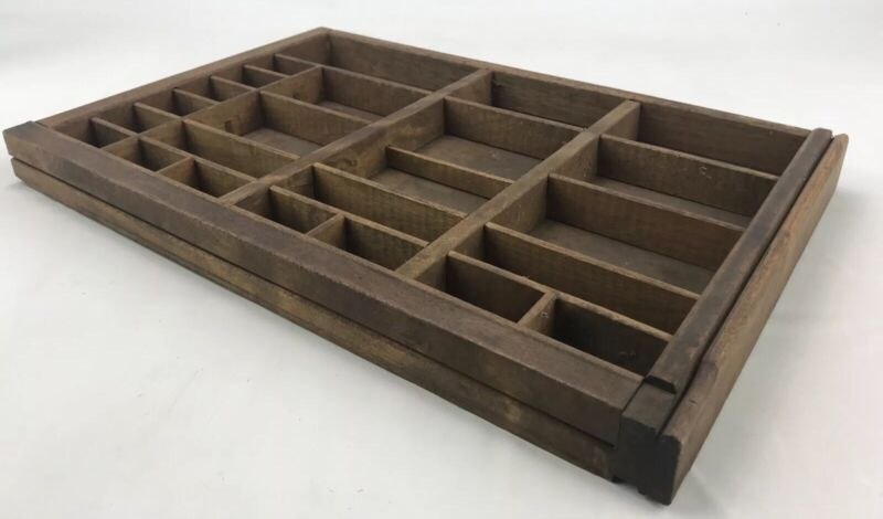 "Vintage Type Set Drawer Wood Tray Display Shadow Box approx 16.5"" X 10.75"" HG2"