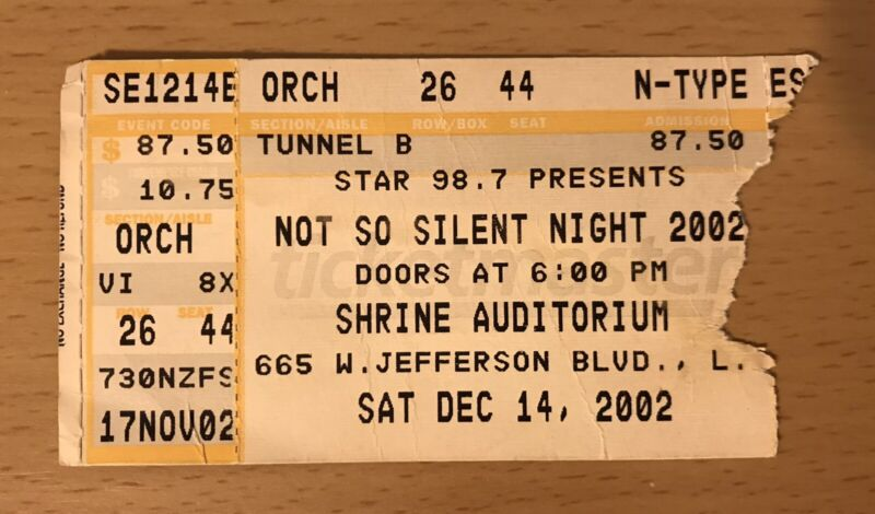 2002 NOT SO SILENT NIGHT CONCERT LOS ANGELES TICKET STUB BANGLES COUNTING CROWS