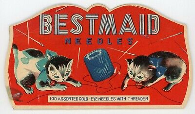 Vintage Advertising BEST MAID Needle Pack Kittens at Play Assorted Needles