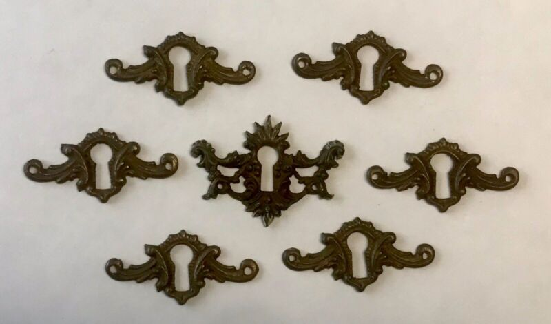7 Antique Brass Furniture Drawer Key Hole Covers Plate Escutcheons