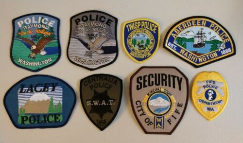 8 different Washington police patches - Lot 1 - postpaid to US