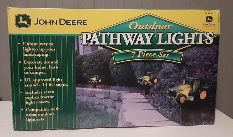 JOHN DEERE OUTDOOR PATHWAY SIDEWALK LIGHTS--7 PIECE FARM TRACTOR SET--NEW IN BOX