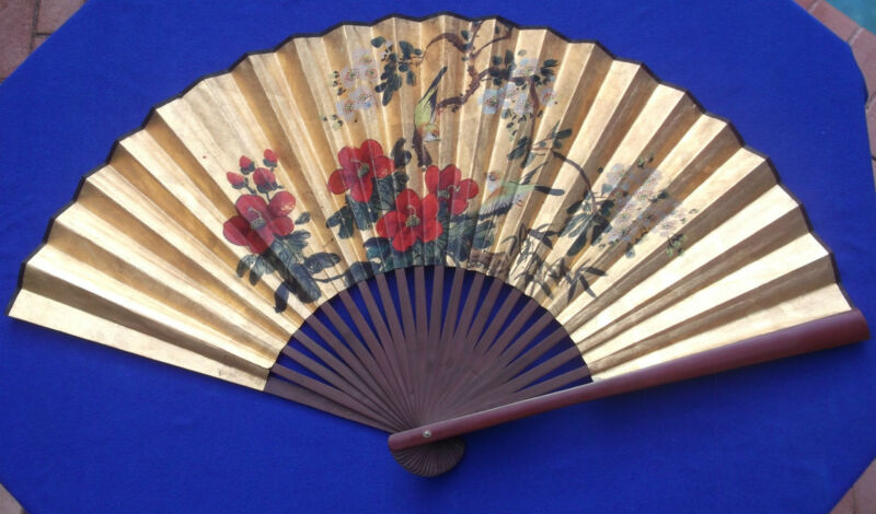"Vintage Original Gilded 40"" Hand Fan with Hand Painted Birds & Flowers"