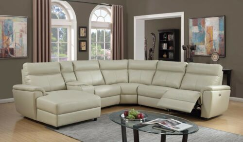 Recliner Sectional Sofa w Console Beautiful Plush Cushioned Seat Chaise Wedge