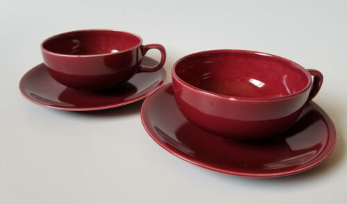Paden City Pottery Greenbrier Cup & Saucer Set Of 2 Burgundy MCM
