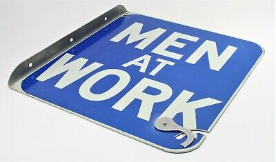 Vintage Sign Street Road Traffic MEN AT WORK Double Sided Metal Reflective Paint