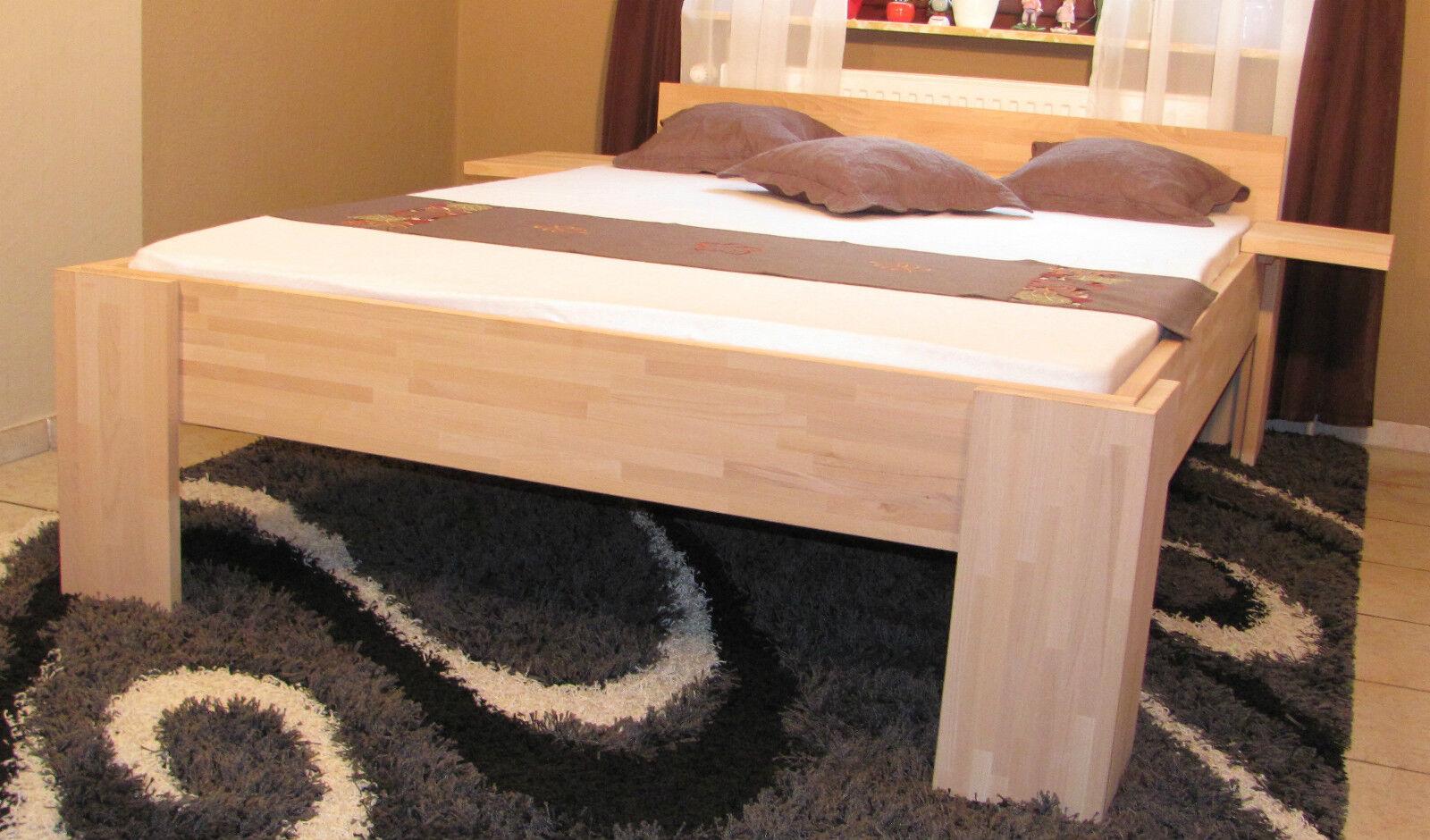 massivholzbett holzbett 140x200 fu i doppelbett massiv g stebett buche bett eur 169 00. Black Bedroom Furniture Sets. Home Design Ideas