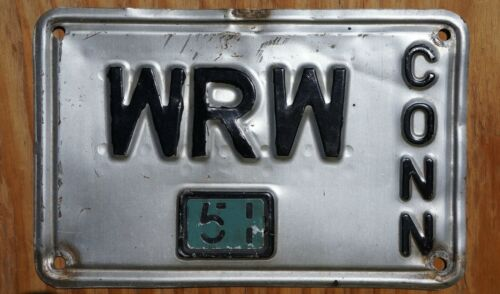 1951 Connecticut Vanity License Plate # WRW