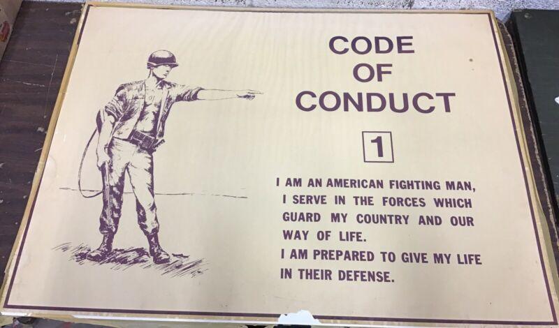 """Vietnam Era Military Training Poster """"Code Of Conduct 1"""""""