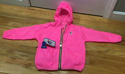 K.WAY Claude Classic Full Zip-Hooded-Pink Rain Jacket-Girl-Kids Size 4 Y