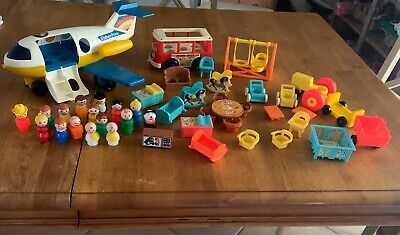 Vintage 1970's Fisher Price Little People LOT People, Plane , Bus & Furniture